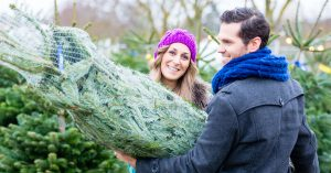 husband and wife carrying home christmas tree