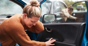 woman with whiplash from a car accident injury
